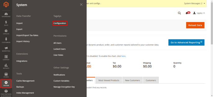 Tagalys Configuration in Magento Admin Panel