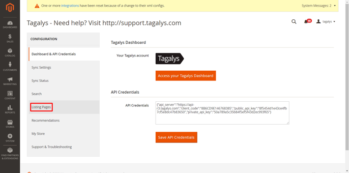 Tagalys Merchandising for a new Category created on Magento