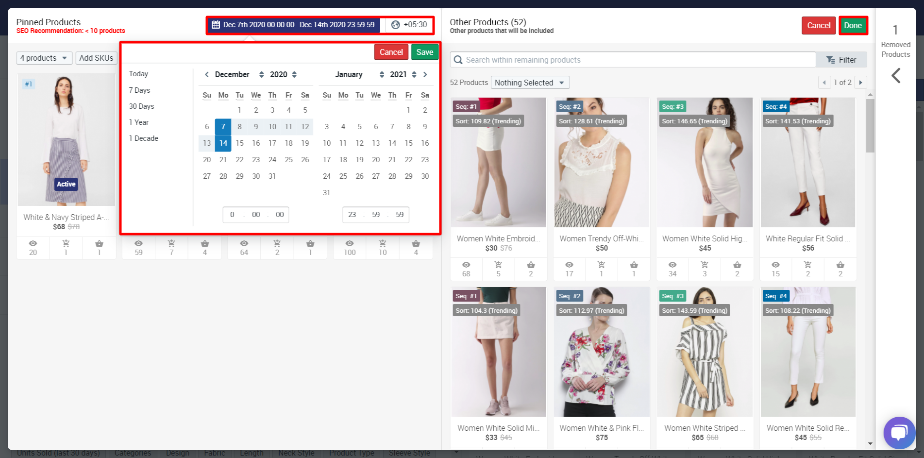 Extending the date range of pinned products in Tagalys