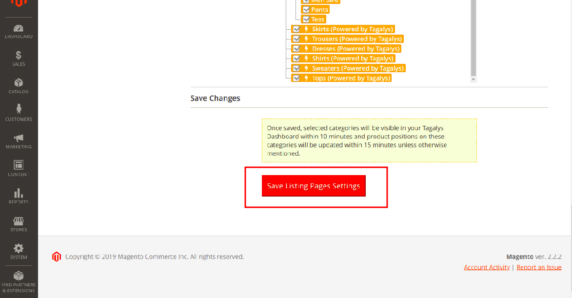 Save all Listing Pages settingas to enable sorting or Merchandising using Tagalys