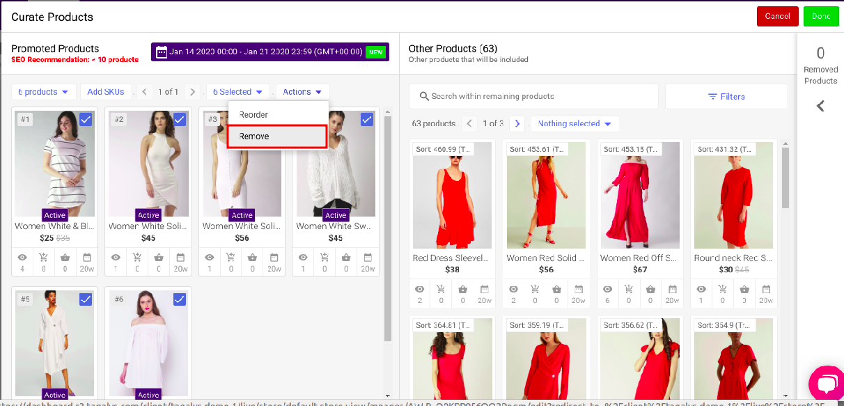 Remove Pinned or Promoted products from a Category or Collection