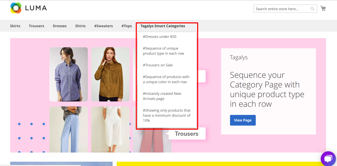 Tagalys created Categories in the Online Store's navigation menu