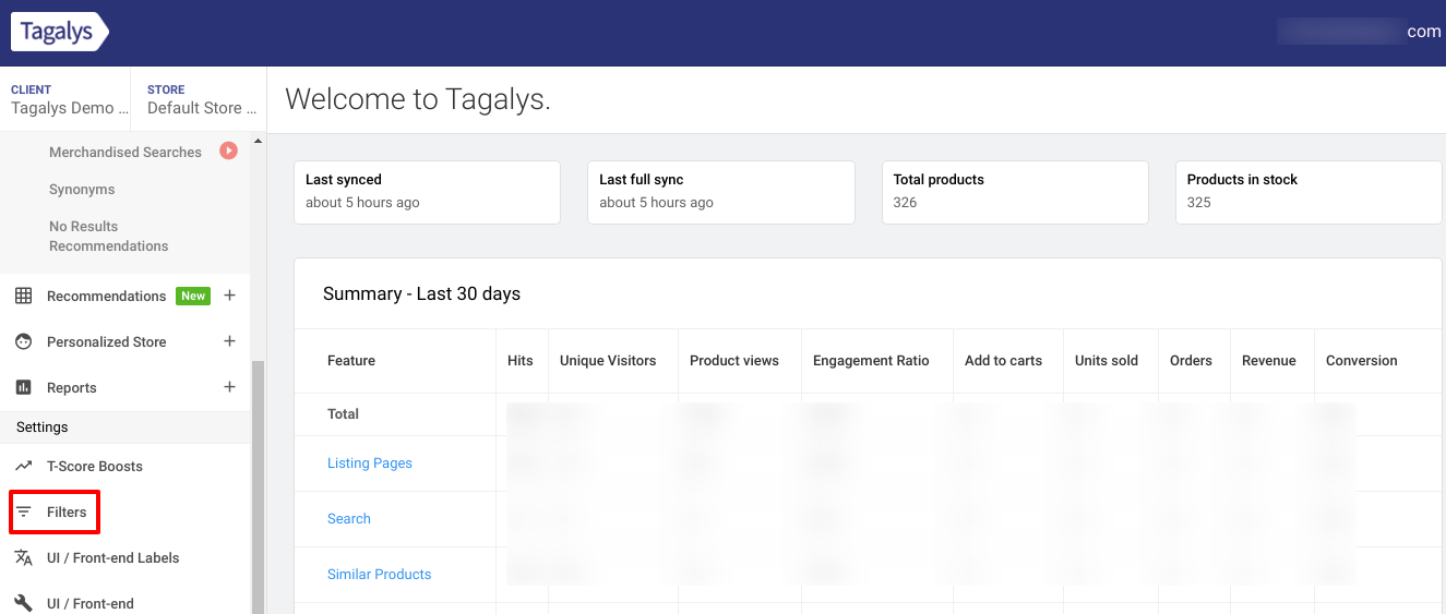 Add, edit or delete filters from Tagalys Dashboard