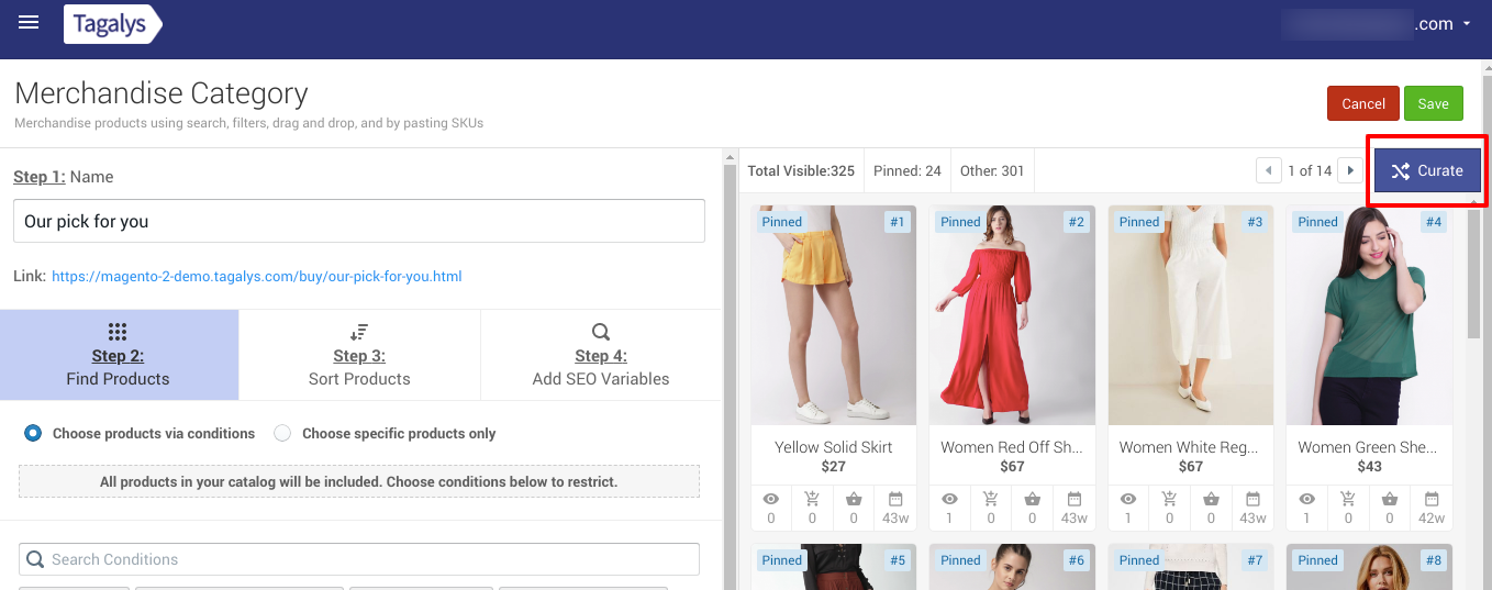 Reorder Pinned products without using drag and drop feature of Tagalys
