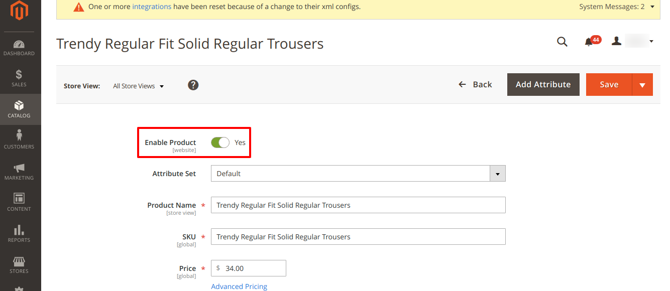 Products added in Magento Catalog displaying in Tagalys Dashboard
