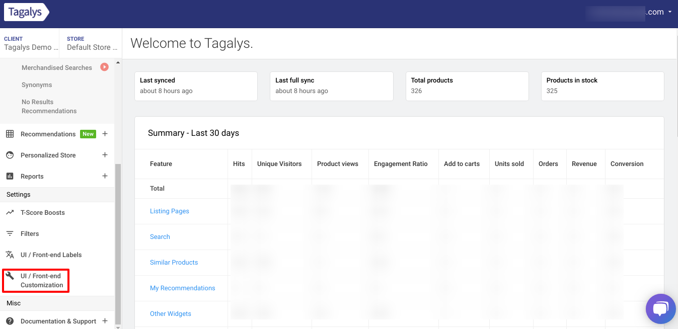 UIUX Customization of your eCommerce store in Tagalys