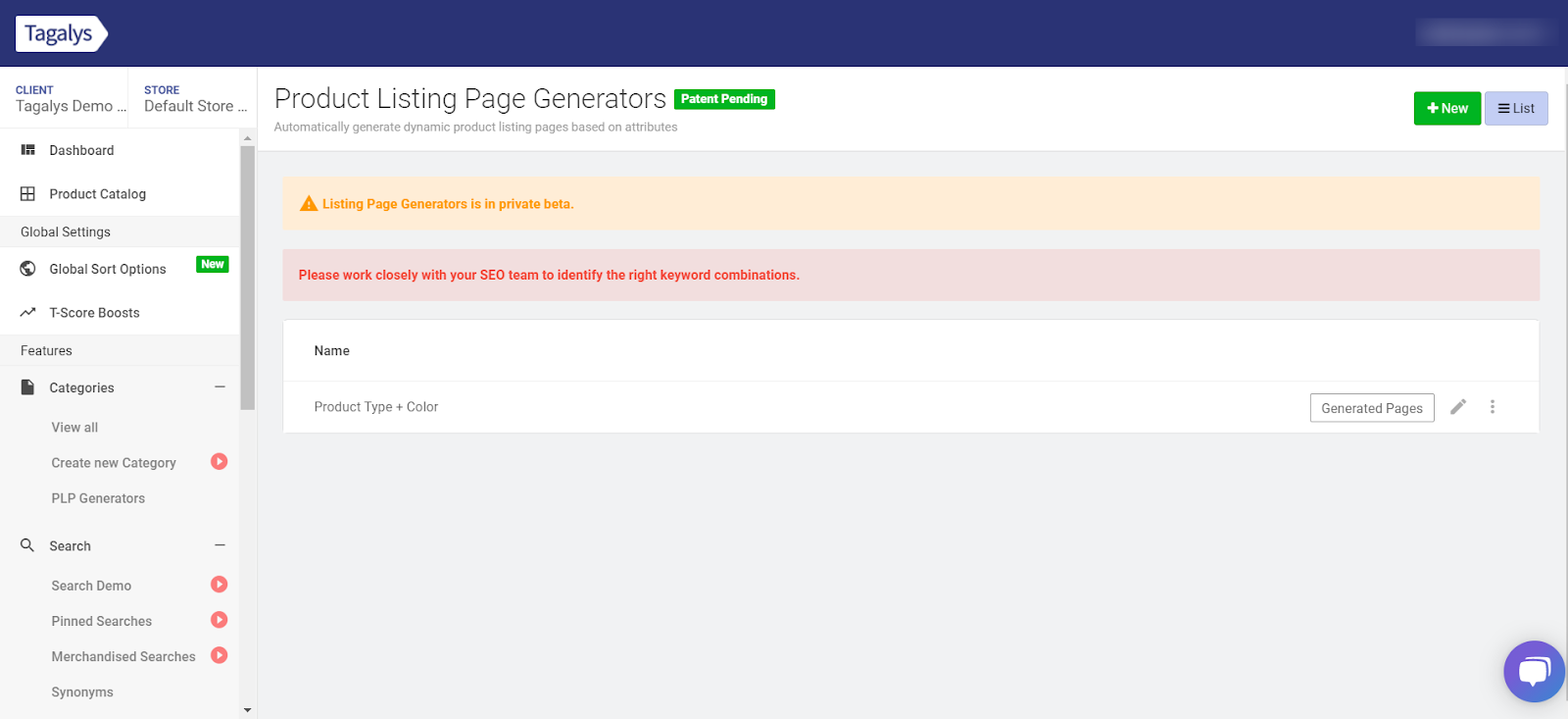 Product Listing Page Generators in Tagalys