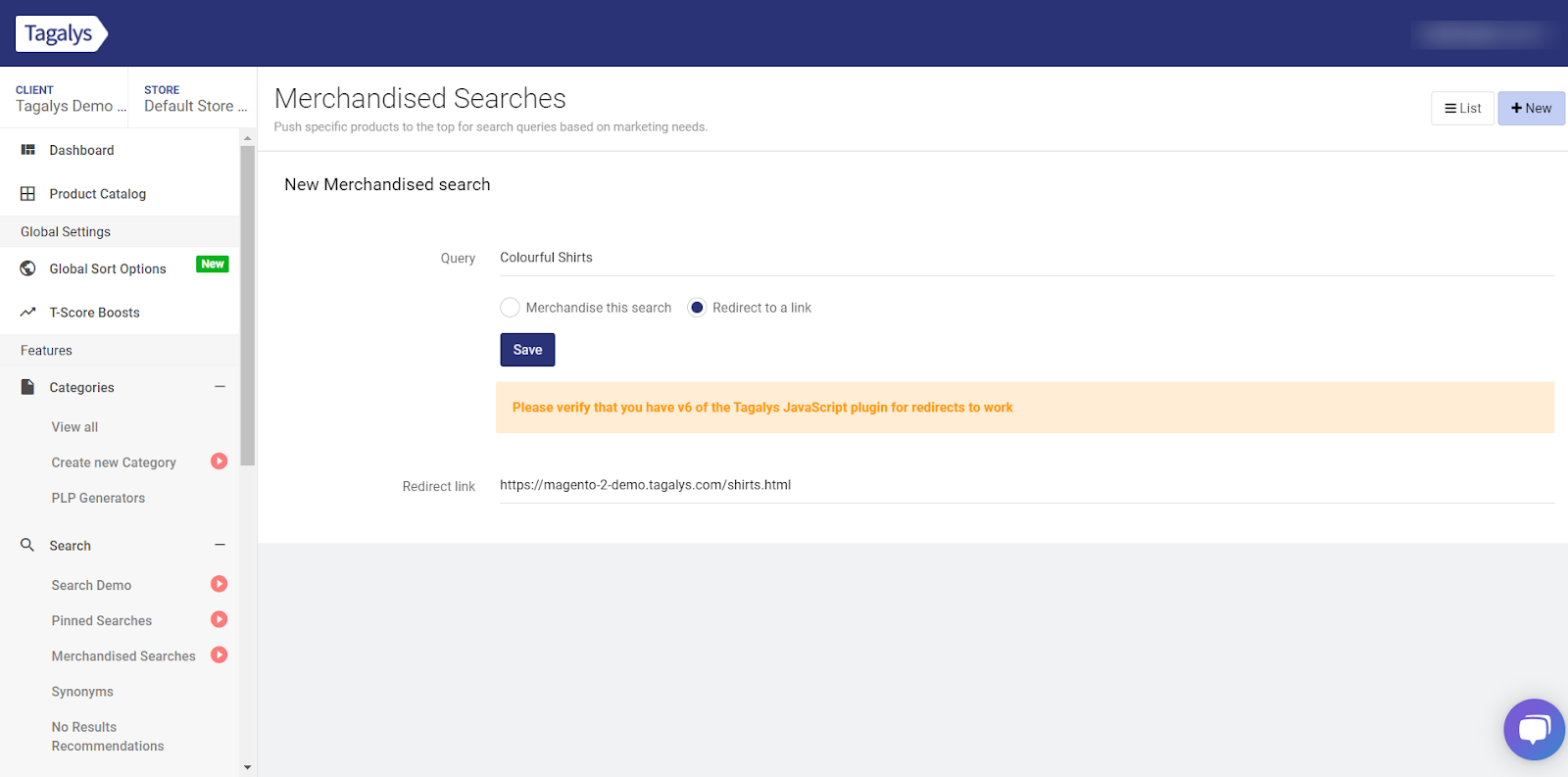 Redirecting a Search query to a link in Tagalys Search