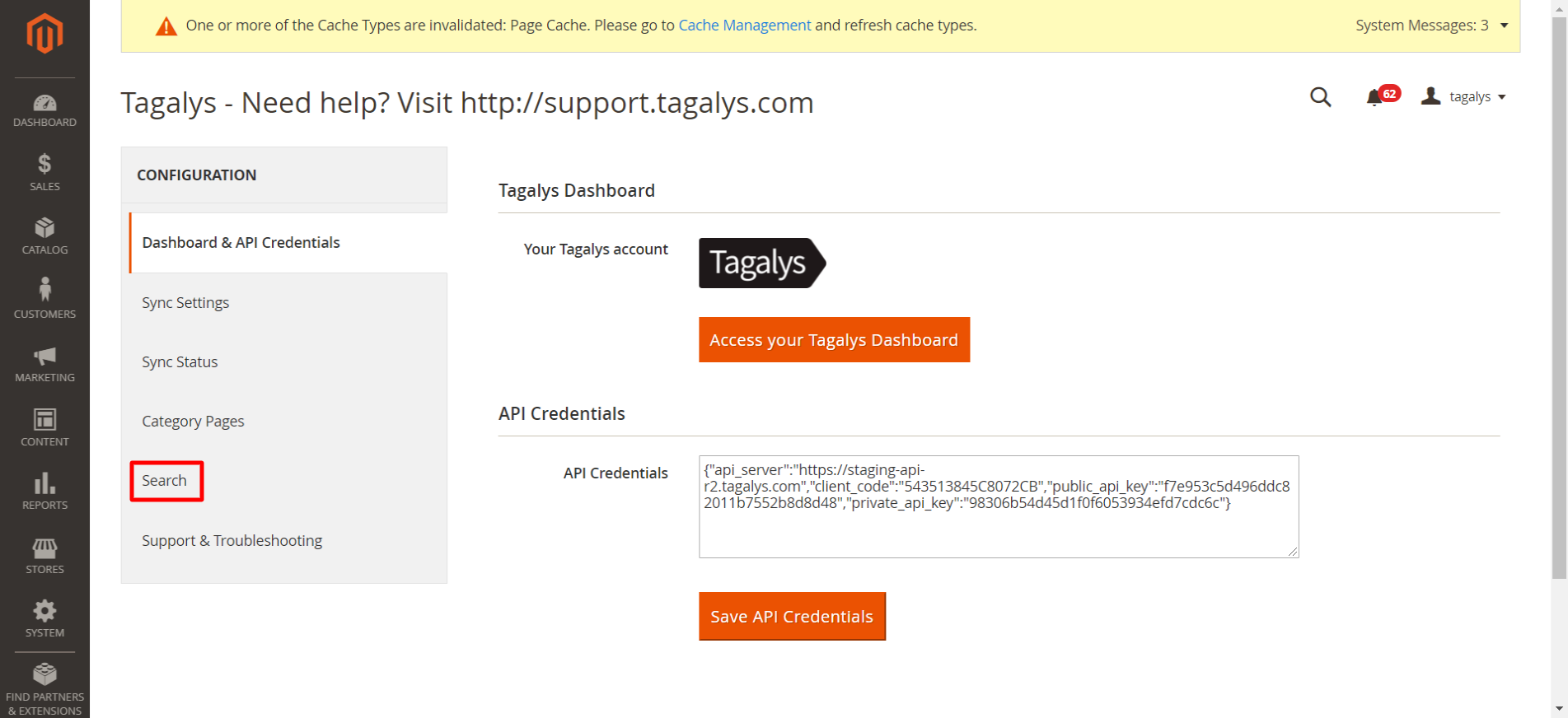 Enable Tagalys search for Magento 2.X