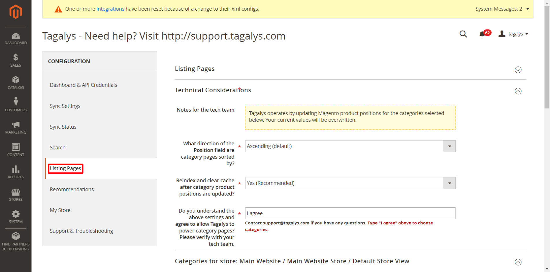 Listing Pages Configuration in Magento Admin Panel