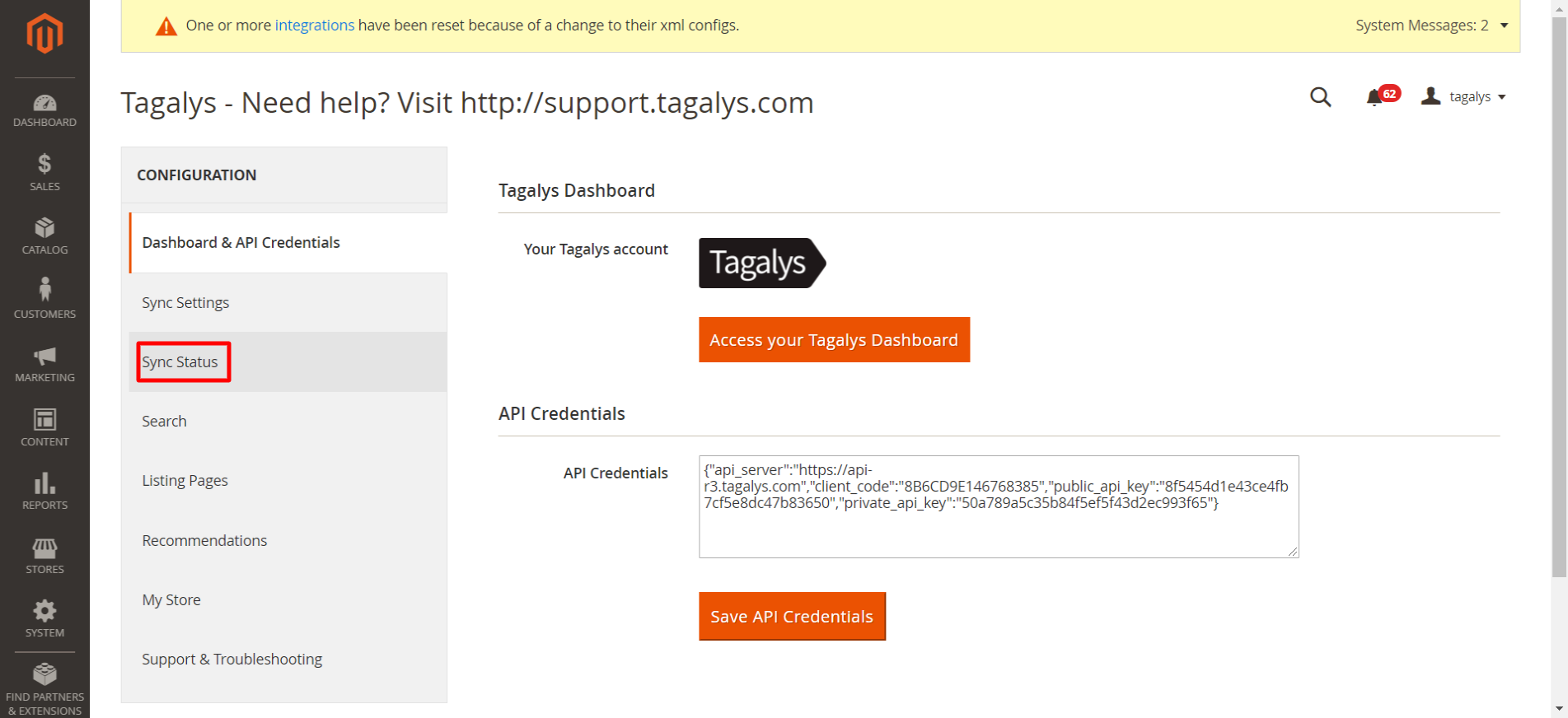 Sync Status from Magento to Tagalys